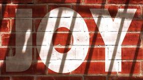 Joy On A Wall With Jail Bars Shadow. Joy Written On A Wall With Jail Bars Shadow Stock Photo