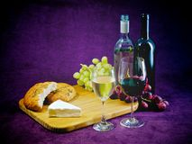 The joy of wine, bread and cheese Stock Photos