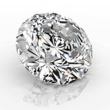 Joya del diamante de la imagen en el fondo blanco Imagen brillante chispeante hermosa de la esmeralda de la forma redonda 3D hace Imágenes de archivo libres de regalías
