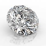 Joya del diamante de la imagen en el fondo blanco Imagen brillante chispeante hermosa de la esmeralda de la forma redonda 3D hace Fotografía de archivo libre de regalías