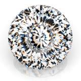 Joya del diamante de la imagen en el fondo blanco Imagen brillante chispeante hermosa de la esmeralda de la forma redonda 3D hace Foto de archivo libre de regalías