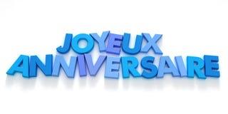 Joyeaux Anniversaire in blauwe schaduwen Stock Afbeelding
