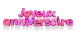 Joyeaux Anniversaire in den rosafarbenen Farbtönen Lizenzfreie Stockfotografie