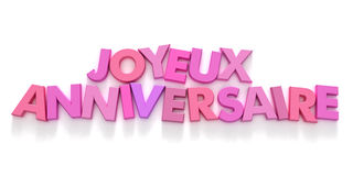 Joyeaux Anniversaire in den rosafarbenen Großbuchstaben Lizenzfreies Stockbild