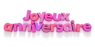 Joyeaux Anniversaire in roze schaduwen Royalty-vrije Stock Fotografie