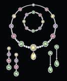 Joyería colorida del diamante fotos de archivo