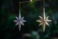Joyería de la estrella del oro y de la plata fueron colgados juntos Imagen de archivo libre de regalías