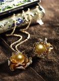 Joyería de la multa de la perla del oro Fotos de archivo libres de regalías