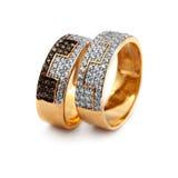Joyería de oro dos anillos Imagenes de archivo