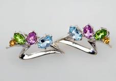 Joyería de plata con las gemas Fotografía de archivo libre de regalías