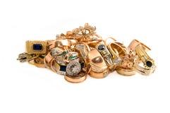 joyería del oro aislada en blanco Imagen de archivo