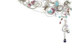 Joyería del oro blanco con los jems Foto de archivo libre de regalías