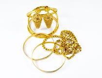 Joyería del oro de la moda Fotografía de archivo