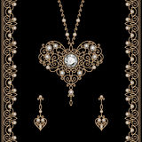 Joyería del oro fijada en negro stock de ilustración