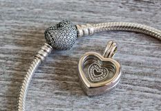 Joyería del ` s de las mujeres, pulsera y colgante - corazón Fotografía de archivo libre de regalías
