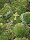 Joyería en follaje verde Fotografía de archivo libre de regalías