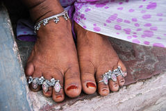 Joyería india para los pies Imagen de archivo libre de regalías