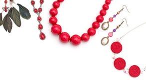 Joyería para las mujeres Rojo del collar Fotografía de archivo libre de regalías