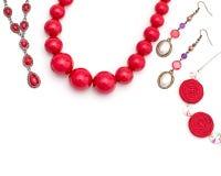 Joyería para las mujeres Rojo del collar Imagenes de archivo