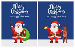 Joyeuse affiche Santa Bag Deer de bonne année de Noël Photographie stock libre de droits
