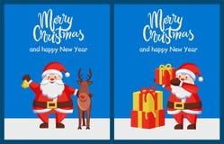 Joyeuse affiche Santa Deer Box de bonne année de Noël Photos stock