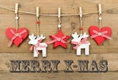 JOYEUSE carte de Noël avec la décoration Photos libres de droits