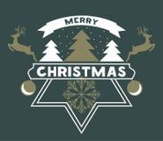 Joyeuse carte de voeux de Chrismas avec la neige, l'arbre de Noël et le Reind illustration libre de droits