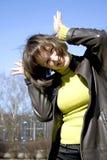 Joyeuse et heureuse jeune dame Images libres de droits