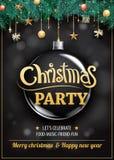 Joyeuse fête de Noël et boule en verre sur l'invitati foncé de fond illustration libre de droits