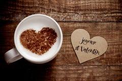 Joyeuse st valentin,愉快的情人节用法语 免版税库存图片