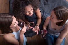 Joyeuses filles buvant du vin et ayant la conversation passionnante Photos stock
