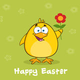 Joyeuses Pâques avec Chick Cartoon Character With jaune Daisy Flower rouge Photo libre de droits
