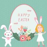 Joyeuses Pâques avec des enfants et des rabits Image stock
