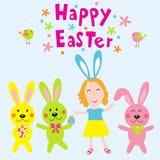 Joyeuses Pâques avec des enfants et le vecteur de rabits Photos stock