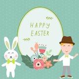Joyeuses Pâques avec des enfants et rabits dirigent l'illustration Images stock