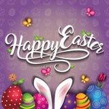 Joyeuses Pâques avec des oeufs et des oreilles de lapin Images stock