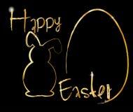 Joyeuses Pâques avec l'oeuf de lapin Images stock
