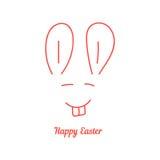 Joyeuses Pâques avec la ligne mince museau de lapin Photographie stock libre de droits
