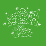 Joyeuses Pâques avec la silhouette d'oeufs blancs Image stock
