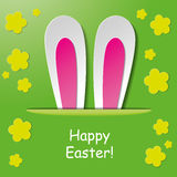 Joyeuses Pâques Bunny Ears Green Background Photographie stock libre de droits