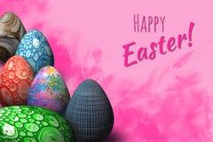 Joyeuses Pâques, carte de voeux pascale avec les oeufs colorés à la mode de 3D pâques illustration libre de droits