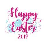 Joyeuses Pâques 2019 conceptions de salutation avec le fond d'oeufs illustration libre de droits