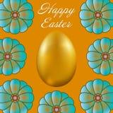 Joyeuses Pâques d'isolement sur le fond d'or Photos libres de droits