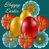 Joyeuses Pâques d'isolement sur le fond bleu illustration de vecteur