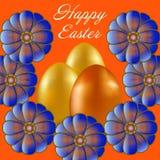 Joyeuses Pâques d'isolement sur le fond orange illustration libre de droits