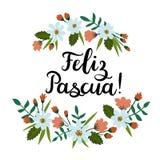 Joyeuses Pâques dans l'Espagnol Feliz Pascua Carte de voeux moderne de calligraphie Photographie stock libre de droits