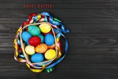 Joyeuses Pâques, de félicitations, carte, oeufs de pâques, oeufs colorés, b Photo stock
