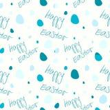 Joyeuses Pâques - ensemble de 4 modèles sans couture de fond de vecteur Tons bleus sur le blanc Photographie stock libre de droits