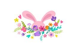Joyeuses Pâques, lapin avec la conception de fleurs Vente de Pâques et concept de vacances de carte de voeux illustration libre de droits