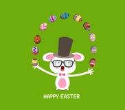 Joyeuses Pâques Lapin de crochet de cirque avec des oeufs illustration libre de droits